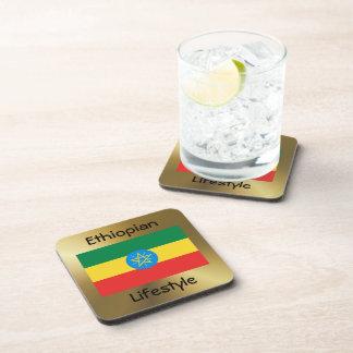 Ethiopia Flag+Text Coaster