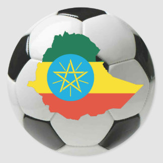 Ethiopia football soccer classic round sticker
