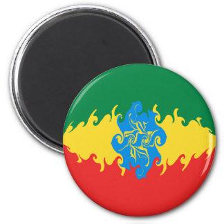 Ethiopia Gnarly Flag 6 Cm Round Magnet