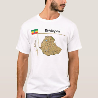Ethiopia Map + Flag + Title T-Shirt