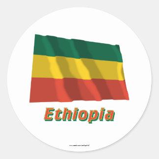 Ethiopia Waving Civil Flag with Name Classic Round Sticker