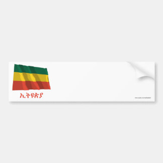 Ethiopia Waving Civil Flag with Name in Amharic Bumper Sticker