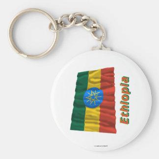 Ethiopia Waving Flag with Name Key Ring