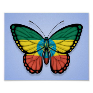 Ethiopian Butterfly Flag on Blue Poster