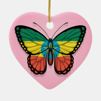 Ethiopian Butterfly Flag on Pink Christmas Ornament