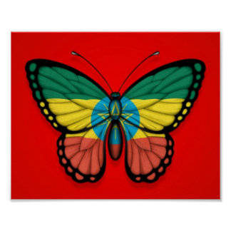 Ethiopian Butterfly Flag on Red Poster