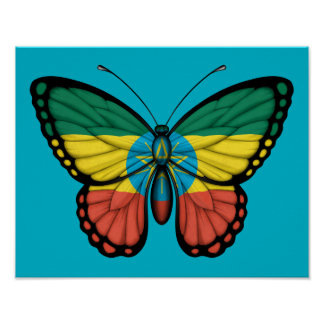 Ethiopian Butterfly Flag Poster