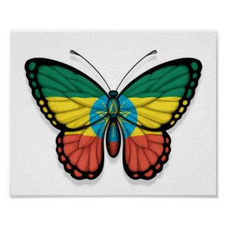 Ethiopian Butterfly Flag Posters