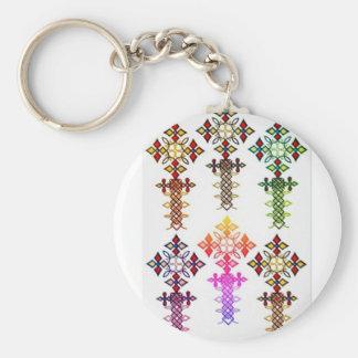 Ethiopian Cross Button Keychain