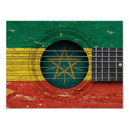 Ethiopian Flag on Old Acoustic Guitar Poster