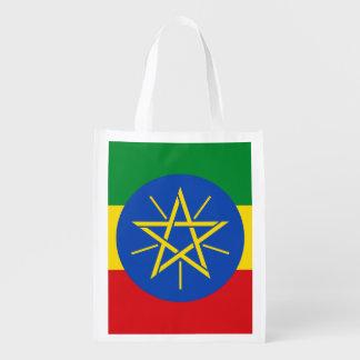 Ethiopian flag reusable grocery bag