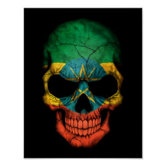 Ethiopian Flag Skull on Black Poster