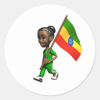 Ethiopian Girl Round Sticker