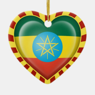 Ethiopian Heart Flag with Sun Rays Christmas Ornament