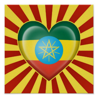 Ethiopian Heart Flag with Sun Rays Poster