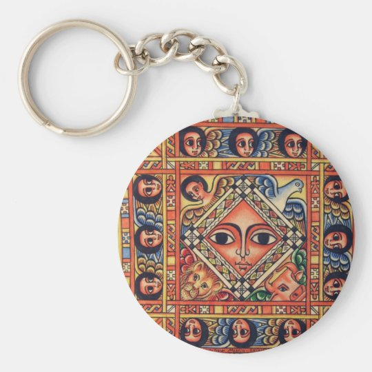 Ethiopian  icon basic round button key ring
