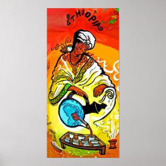Ethiopian Man in Turban Pouring Tea Poster