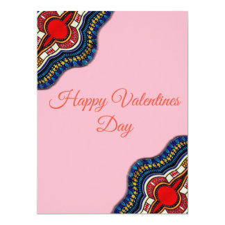 Ethnic African Dashiki Lace Valentines Day Card