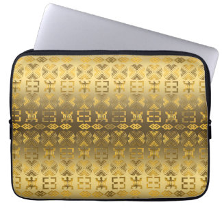 Ethnic African pattern with Adinkra simbols Laptop Sleeve