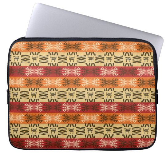 ethnic african stripes  pattern with simbols. laptop sleeve