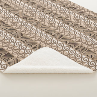 ethnic african tribal hand-drawn pattern. sherpa blanket