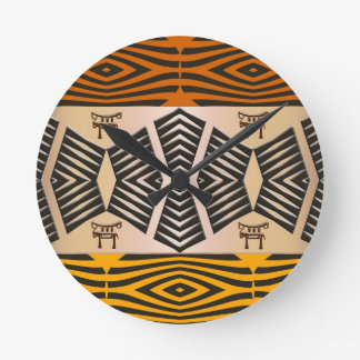 ethnic african tribal pattern round clock