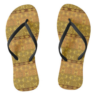 ethnic african tribal pattern with Adinkra simbols Flip Flops