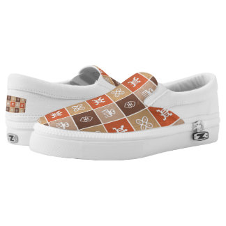 ethnic african tribal pattern with Adinkra simbols Slip On Shoes