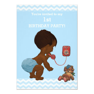Ethnic Baby Boy on Phone Chevrons 1st Birthday 13 Cm X 18 Cm Invitation Card