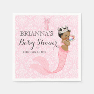 Ethnic Baby Girl Mermaid Princess Crown Damask Paper Napkins