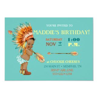 Ethnic Baby Girl Native Tribal Headdress Moccasins 13 Cm X 18 Cm Invitation Card