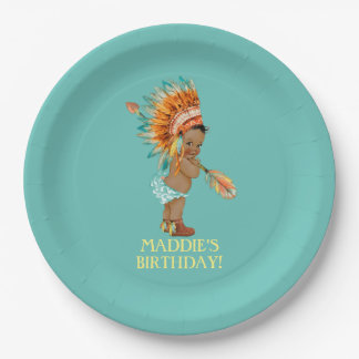 Ethnic Baby Girl Native Tribal Headdress Moccasins 9 Inch Paper Plate