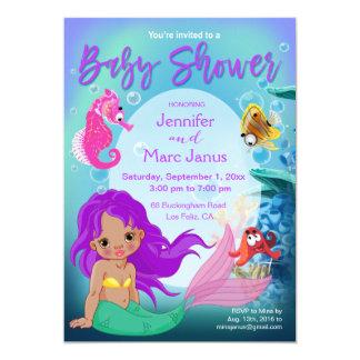 Ethnic Baby Mermaid Underwater Fantasy Baby Shower 13 Cm X 18 Cm Invitation Card