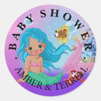 Ethnic Baby Mermaid Underwater Fantasy Baby Shower Round Sticker