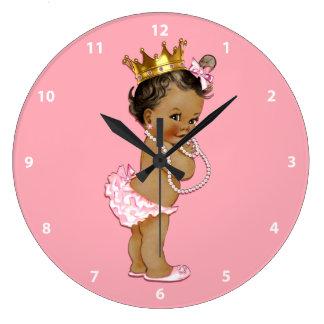 Ethnic Baby Princess and Pearls Pink Wallclocks
