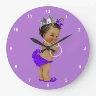 Ethnic Baby Princess and Pearls Purple Wall Clock