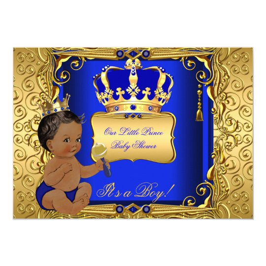 Ethnic Baby Shower Boy Royal Blue Gold Card