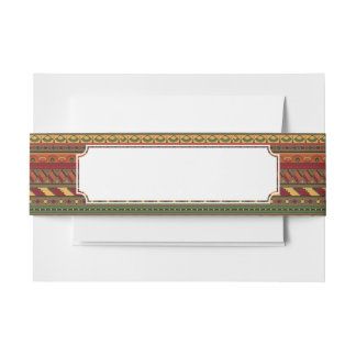 Ethnic background invitation belly band