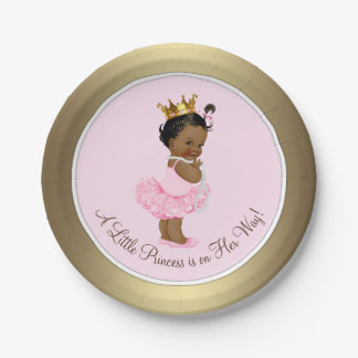 Ethnic Ballerina Princess Pink Gold Baby Shower 7 Inch Paper Plate