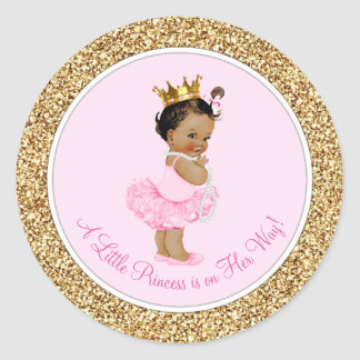 Ethnic Ballerina Princess Pink Gold Baby Shower Round Sticker