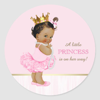 Ethnic Ballerina Princess Tutu Baby Shower Round Sticker