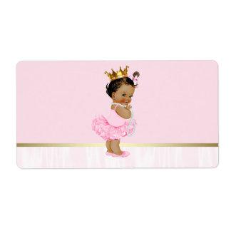 Ethnic Ballerina Tutu Baby Shower Water Bottle Shipping Label