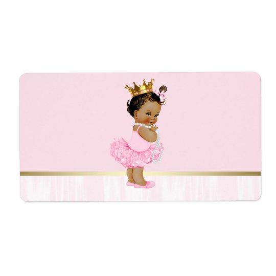 Ethnic Ballerina Tutu Baby Shower Water Bottle Shipping
