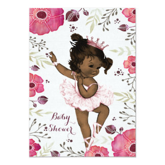 Ethnic Ballerina Watercolor Poppies Baby Shower 13 Cm X 18 Cm Invitation Card