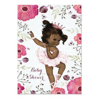 Ethnic Ballerina Watercolor Poppies Baby Shower 13 Cm X 18 Cm Invitation Card