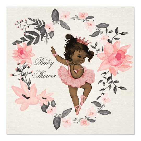 Ethnic Ballerina Watercolor Wreath Baby Shower Card