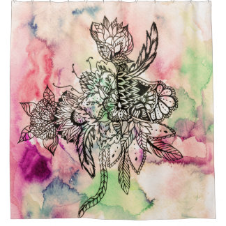 Ethnic bohemian watercolor handdrawn floral shower curtain