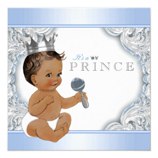 Ethnic Boy Baby Blue Silver Prince Baby Shower 13 Cm X 13 Cm Square Invitation Card