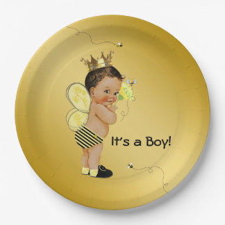 Ethnic Boy Bee Baby Shower Paper Plate