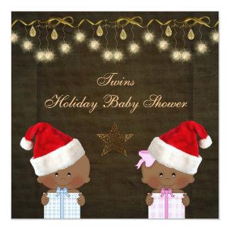 Ethnic Boy & Girl Twins Christmas Baby Shower Custom Announcements